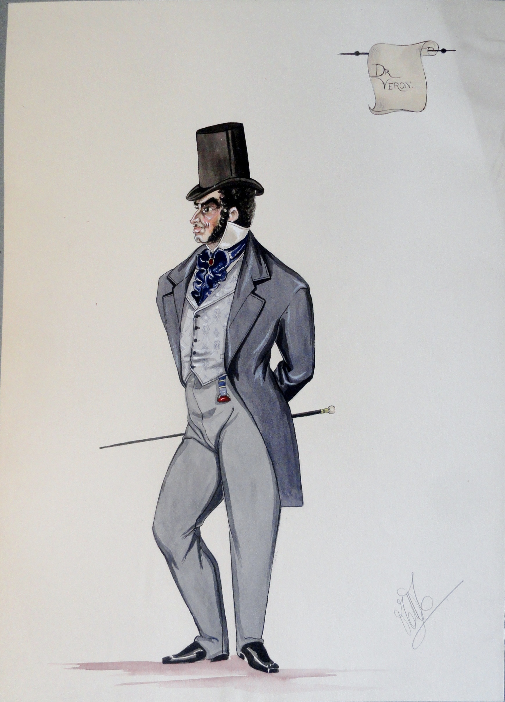 Dr Veron in grey suit, blue tie, stove pipe hat, and ruby colored fob at waist.  Pen and Ink and Watercolor. From the Rachel Portfolio by Owen Hyde Clark. $300.00.