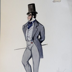 Dr Veron in grey suit, blue tie, stove pipe hat, and ruby colored fob at waist.  Pen and Ink and Watercolor. From the Rachel Portfolio by Owen Hyde Clark.