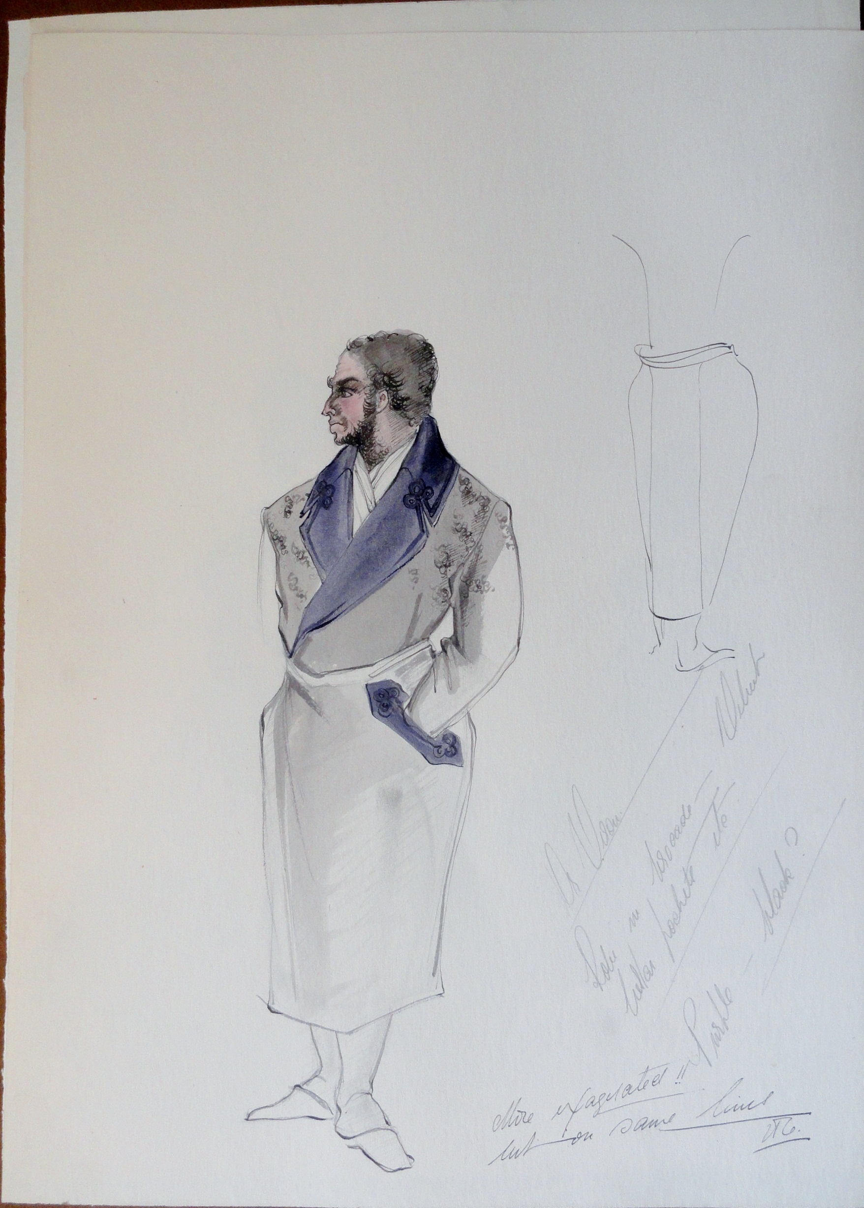 Dr Veron, study, robe with purple lapel, with artists' notes. Pen and Ink and Watercolor. From the Rachel Portfolio by Owen Hyde Clark. $50.00.