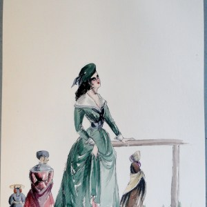 Rachel in green dress and beret. Pen and ink and watercolor painting. Signed.  From the Rachel Portfolio by Owen Hyde Clark.