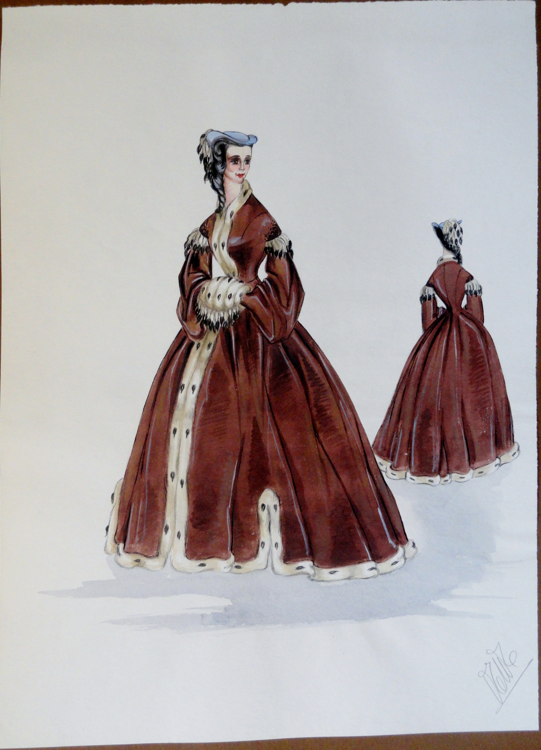 Rachel in long fur stole dress and bonnet. Pen and ink and gouache. Signed.  From the Rachel Portfolio by Owen Hyde Clark. $400.00.