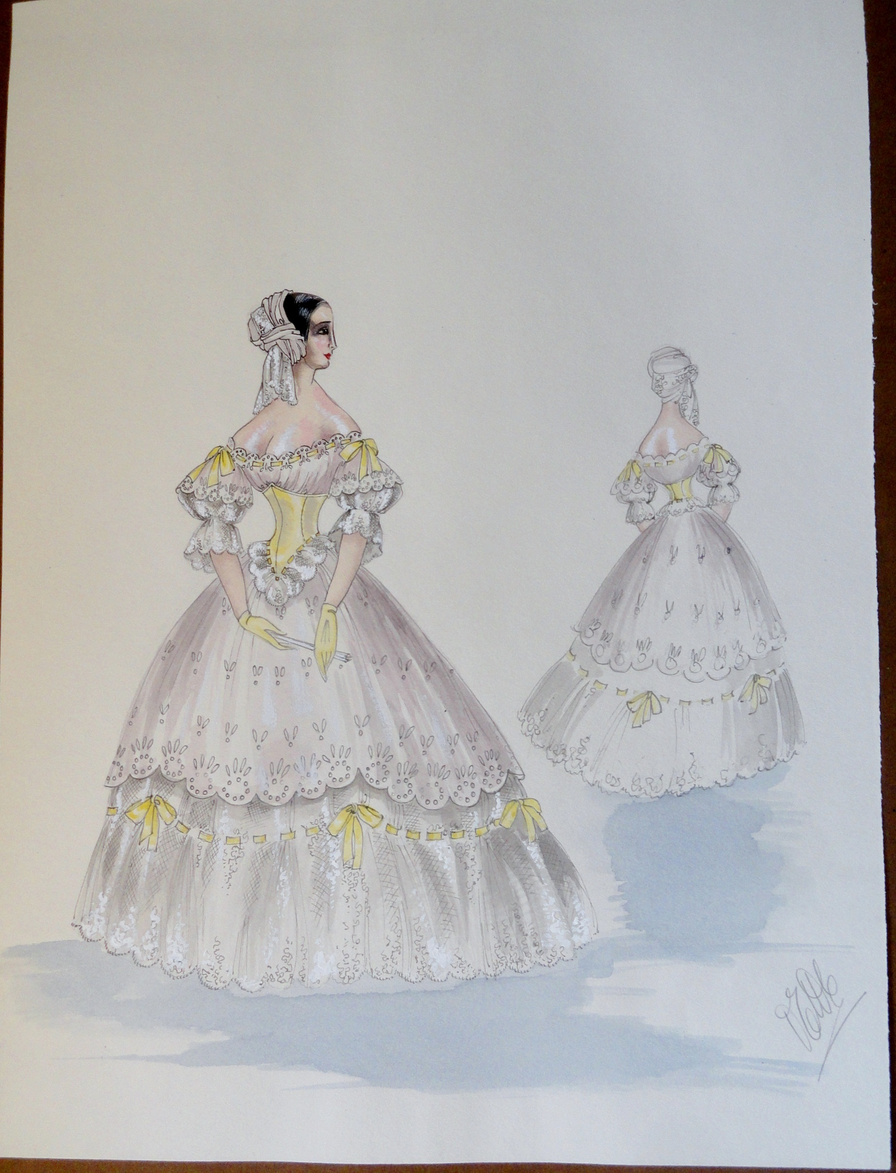 Rachel in white gown yellow accents. Pen and ink and watercolor. Signed.  From the Rachel Portfolio by Owen Hyde Clark. $300.00