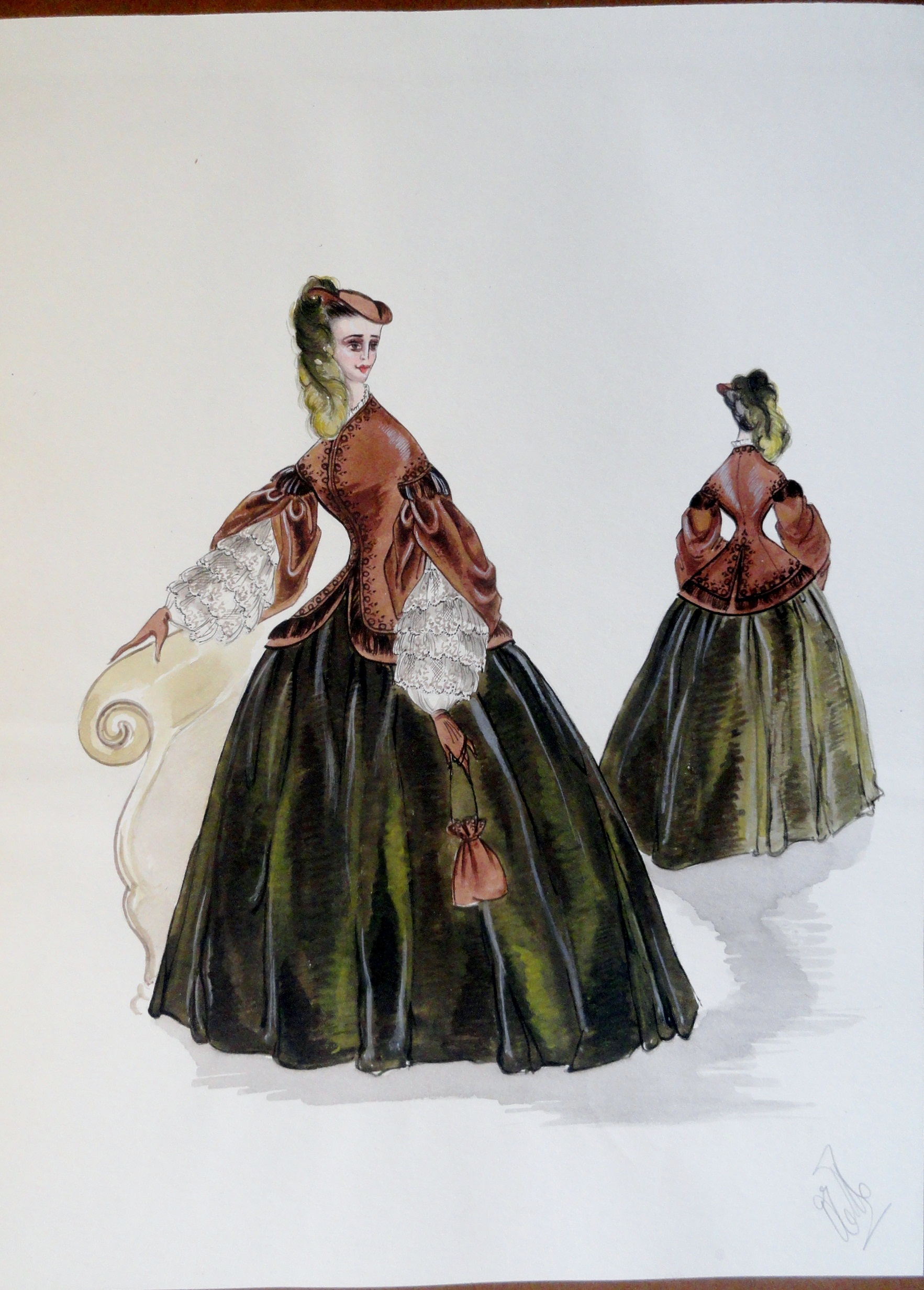 Rachel long green and brown dress with lace sleeves. Pen and ink and gouche. signed.  from the Rachel Portfolio by Owen Hyde Clark. $400.00.