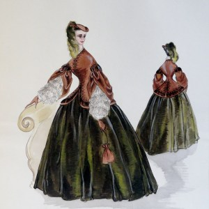 Rachel long green and brown dress with lace sleeves. Pen and ink and gouche. signed.  from the Rachel Portfolio by Owen Hyde Clark.