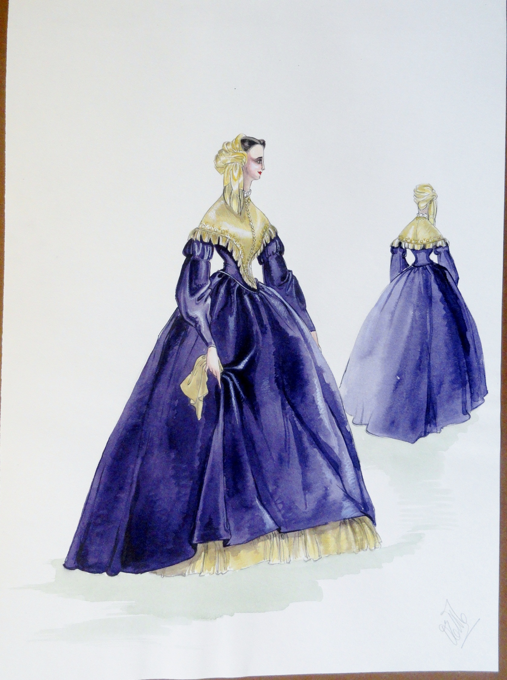 Rachel Felix in long purple dress and gold shawl. Pen and ink and watercolor. Signed.  From the Rachel Portfolio by Owen Hyde Clark.