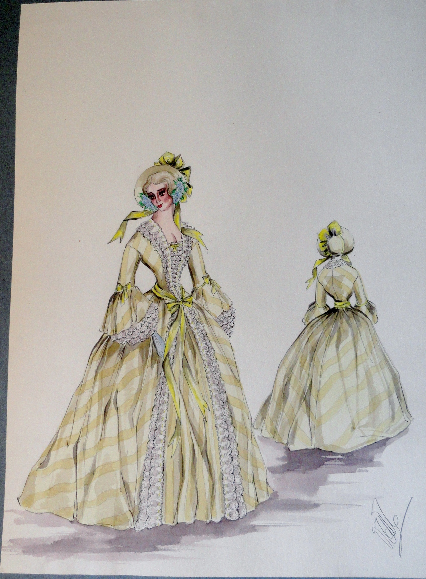 Rachel sister Annette in long yellow gown and bonnet . Pen and ink and gouache painting on paper. From the Rachel Portfolio by Owen Hyde Clark. $400.00
