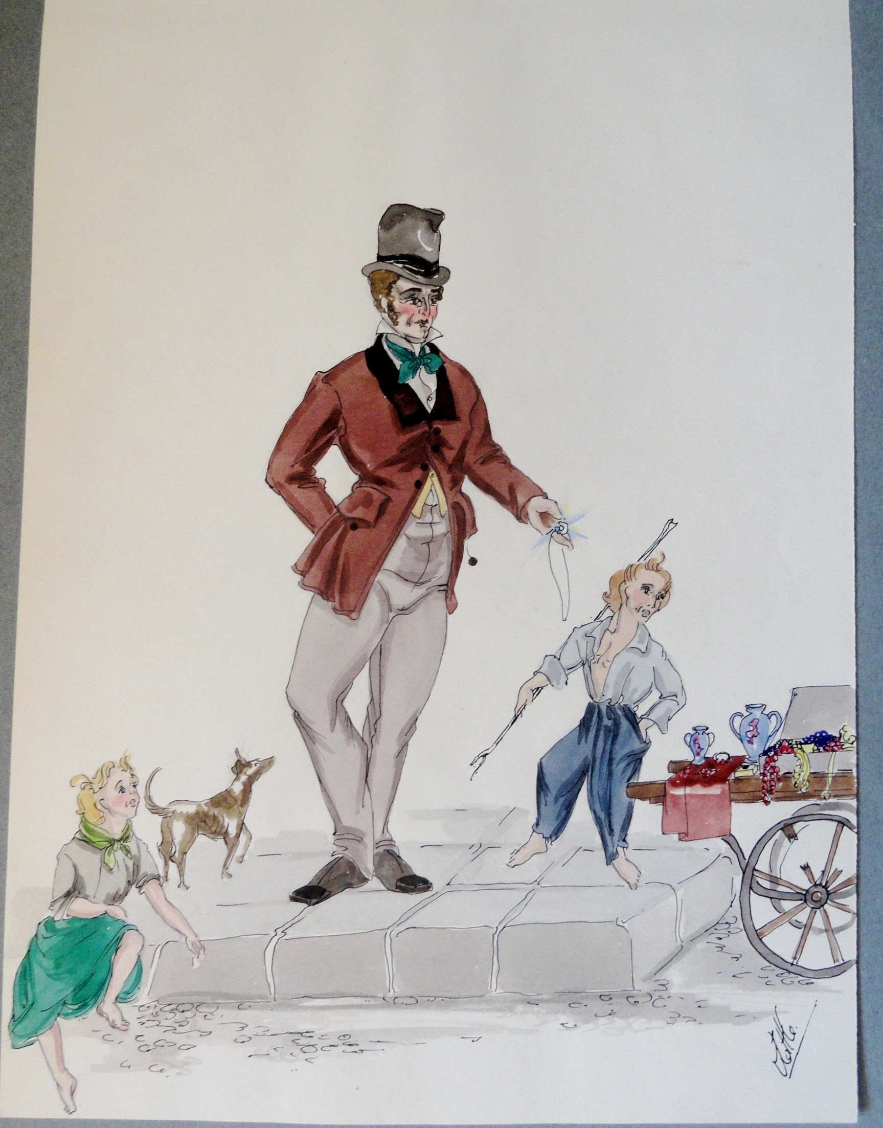 Rachel Felixs' father  with boy and girl and dog. Pen and ink and watercolor Signed.  From the Rachel Portfolio by Owen Hyde Clark. $150.00