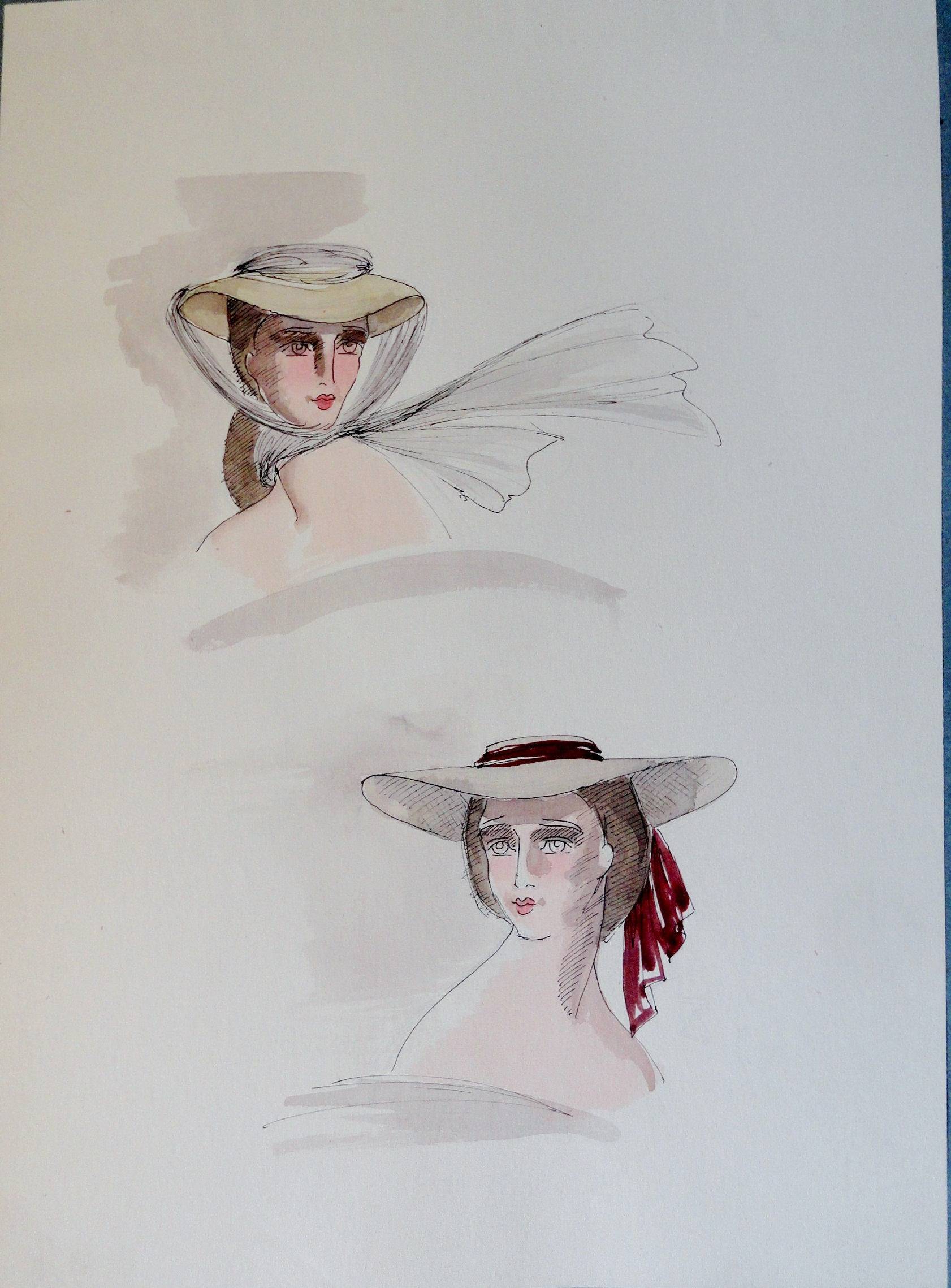 Rachel Felix two hats. Pen and ink and watercolor study. Unsigned.  From the Rachel Portfolio by Owen Hyde Clark. $50.00