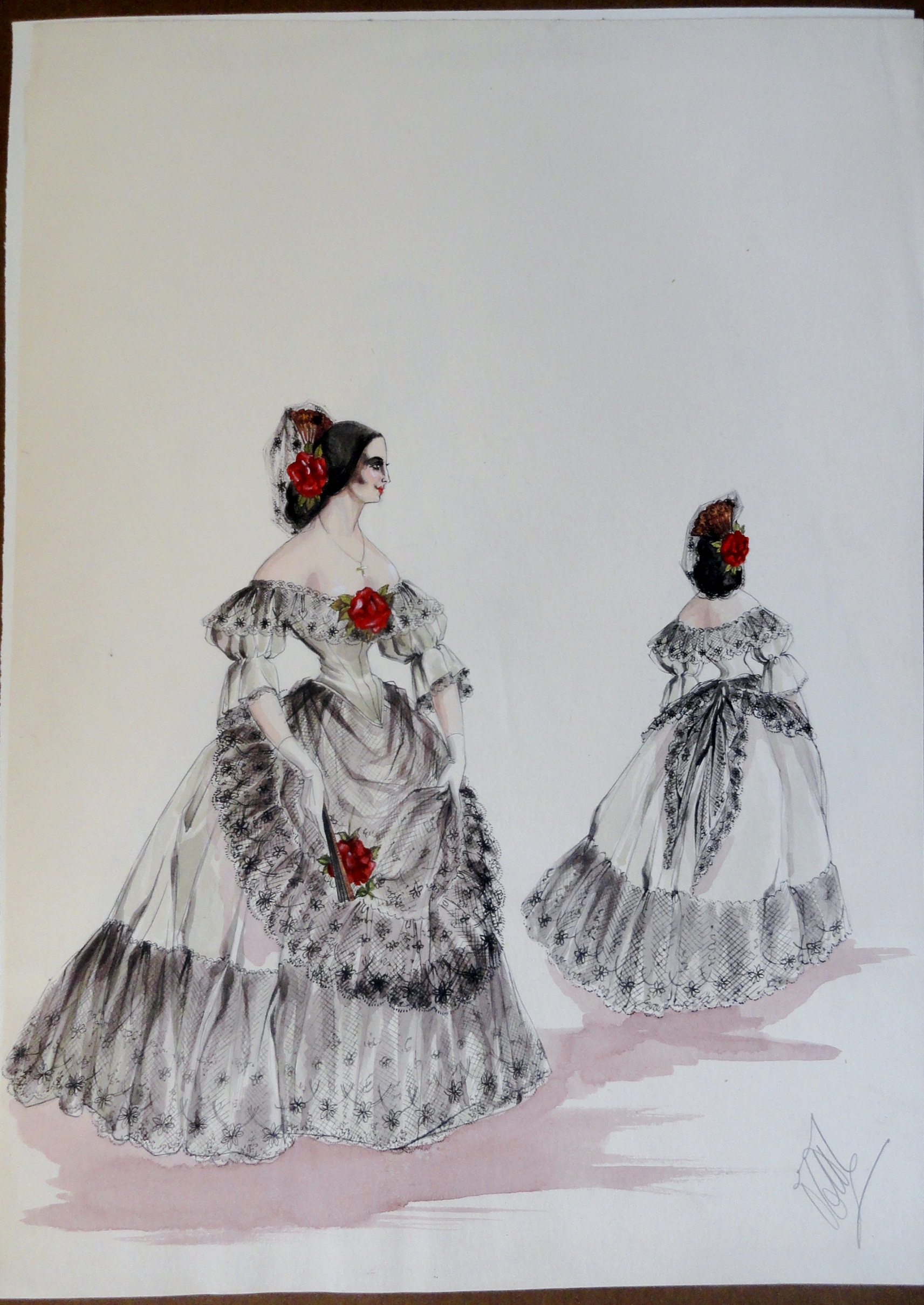 Rachel Felix white Spanish gown with red flowers. Pen and Ink and Watercolor painting on paper.  From the Rachel Portfolio by Owen Hyde Clark.