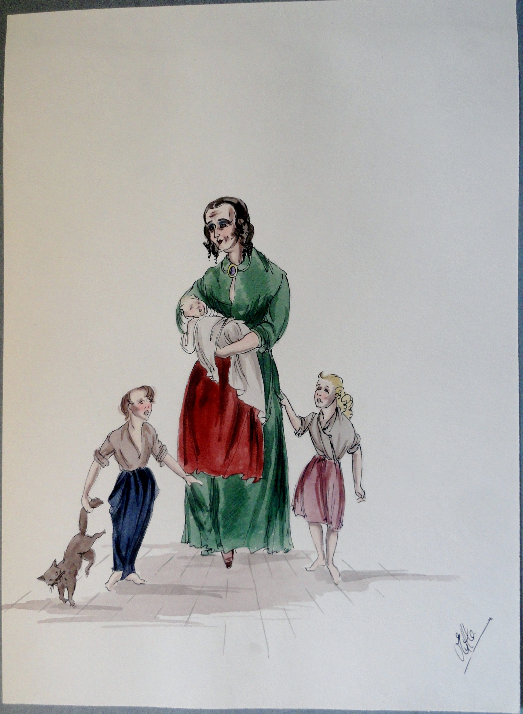Young mama Felix with three kids and cat. Pen and ink and watercolor painting. Signed.  From the Rachel Portfolio by Owen Hyde Clark. $100.00.