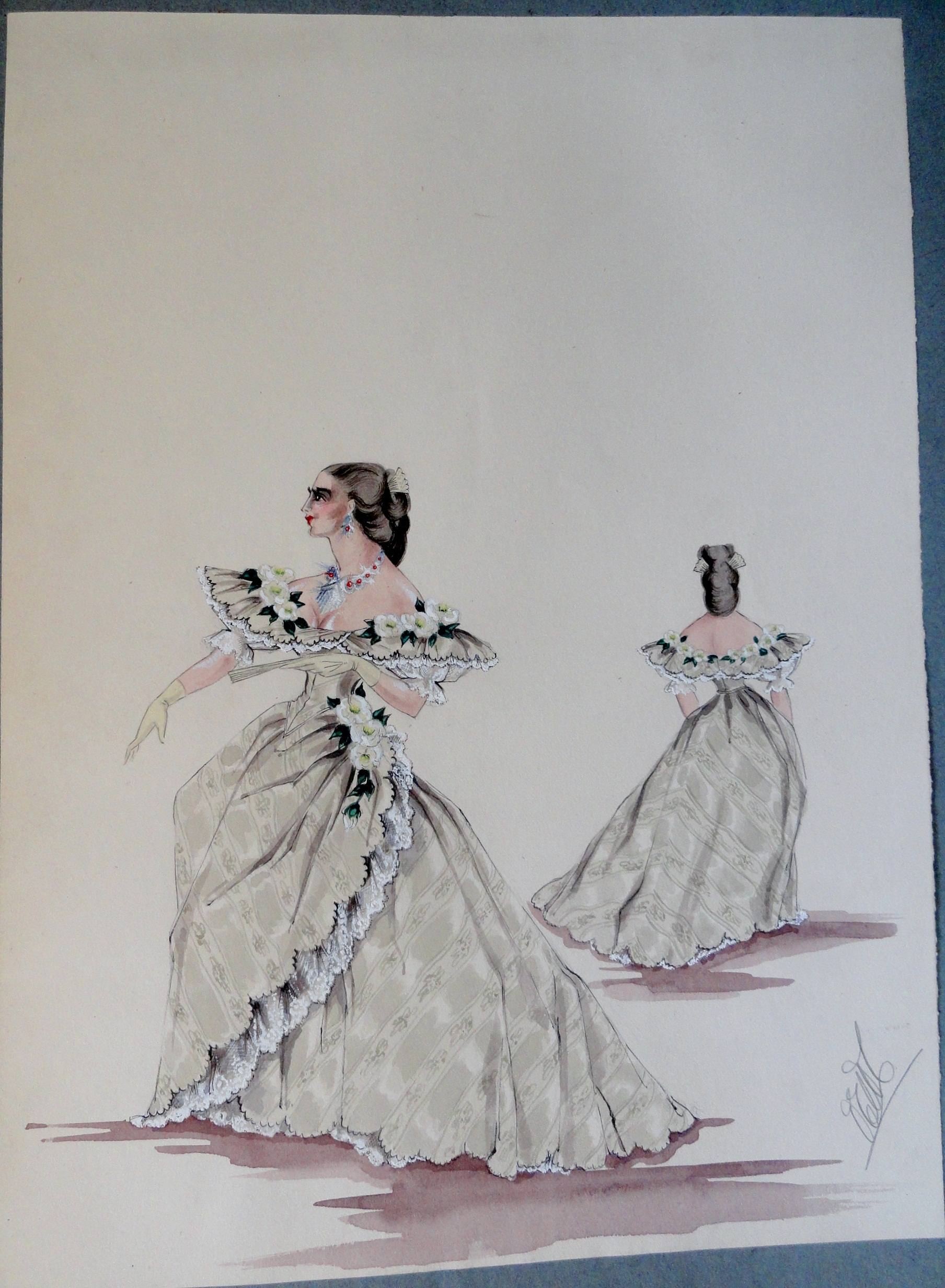 Rachel in light green gown with lace fringe flowered collar. Pen and ink and watercolor on paper.  From The Rachel Portfolio by Owen Hyde Clark. $300.00.