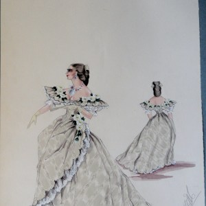 Rachel in light green gown with lace fringe flowered collar. Pen and ink and watercolor on paper.  From The Rachel Portfolio by Owen Hyde Clark.  .