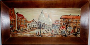 Mid Century Paris Street scene painting of Montmartre, Paris and the Sacre Coeur
