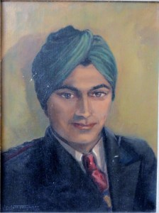 Young Indian Officer in Green Turban. Mid century portrait painting by V. Elliott Ferguson, 1950.