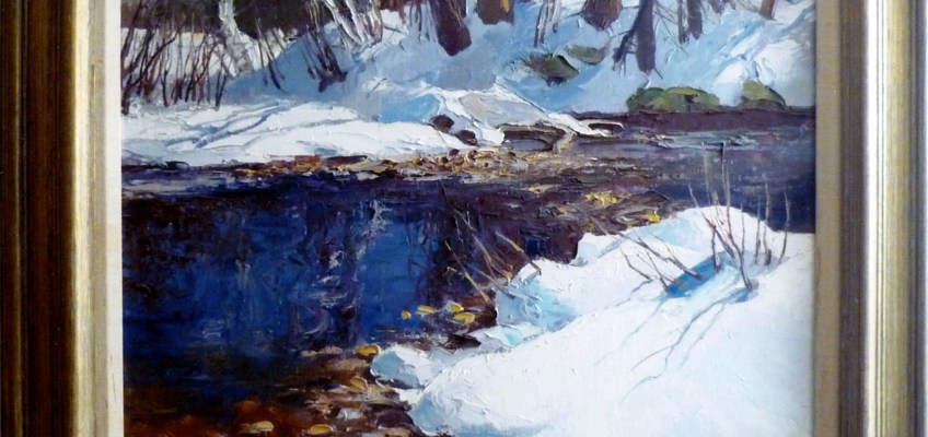 "Winter Stream 32 x 24"" oil painting by Ken Gore, (1911-1990)"