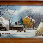 Farmers Home Winter. . Mid 20th century signed Eadie, after George Henry Durries painting Farmers Home Winter for Currier and Ives. .