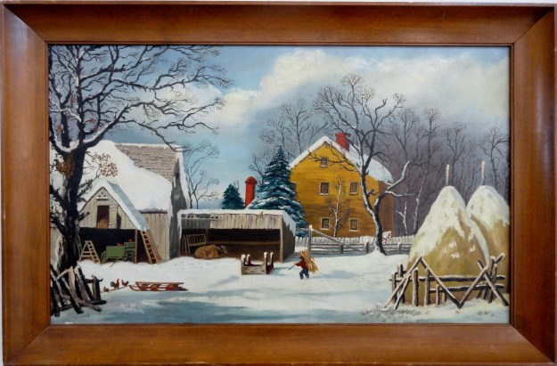Farmers Home Winter. . Mid 20th century signed Eadie, after George Henry Durries painting Farmers Home Winter.