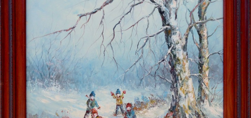 Children playing in the snow. A late mid 20th century winter scene. Oil on canvas signed Simon. Inquiries and offers invited.