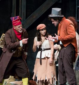 John George Campbell as Thenardier, Kayla Parker as eponine, and Justin Duchi as Montparnasse in Les Miserables