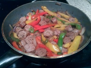 Sausage and peppers with the sausage bites