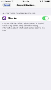 Screenshot of iPhone Content Blockers Settings