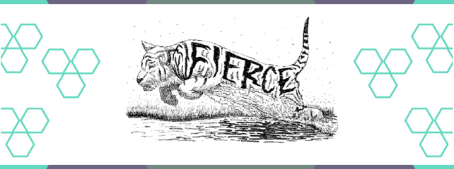 """A drawing of a tiger pouncing with the word 'fierce"""" in it's stripes"""