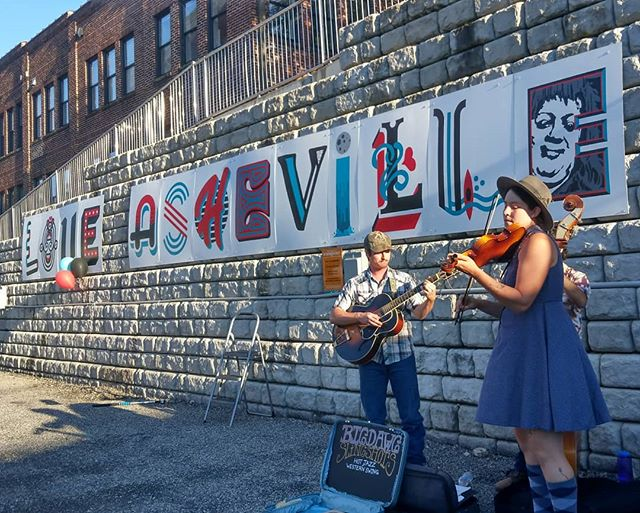 Official unveiling of the Love Asheville mural at 68 Haywood Rd tonight. @soundmindcreative @giganticavl