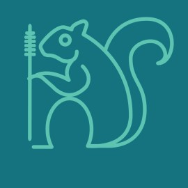 digital illustration of a squirell with a mascara wand in a single line style