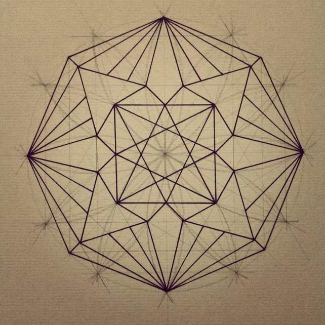 A little evening geometric exploration.  Flower of life underlay with hyper compass rose extraction and centrally nested, squared eight pointed star.  Perhaps I'll add color tomorrow. Or not. What do you think? #8 #4 #6 #12