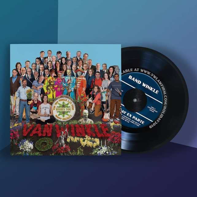 """Last year I was tapped to design the holiday card for the Van Winkle Law Firm.  Interestingly, many of the lawyers are also musicians and each year they record a holiday song. One of the requirements of the brief was that a lot of the members of the firm had to be represented. It was also the 50th anniversary of Sgt Peppers. So I pitched the idea of the holiday card being a """"record"""" that played off of the classic album design. It included a printed insert that had download instructions for listening to their collection of holiday tunes.  This was definitely one of my favorite projects from last year"""