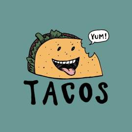 This week as part of art class, my 7 year old daughter and I designed a logo for tacos together. ?