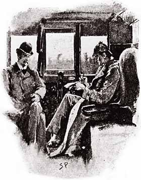 Holmes and Watson seated on a train