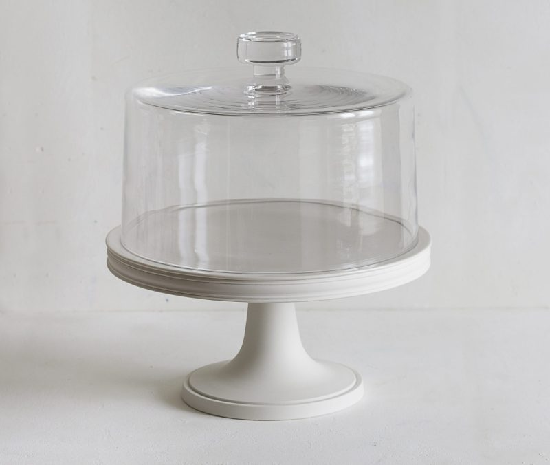 Classical Porcelain Cake Stand 28cm, Glass Dome