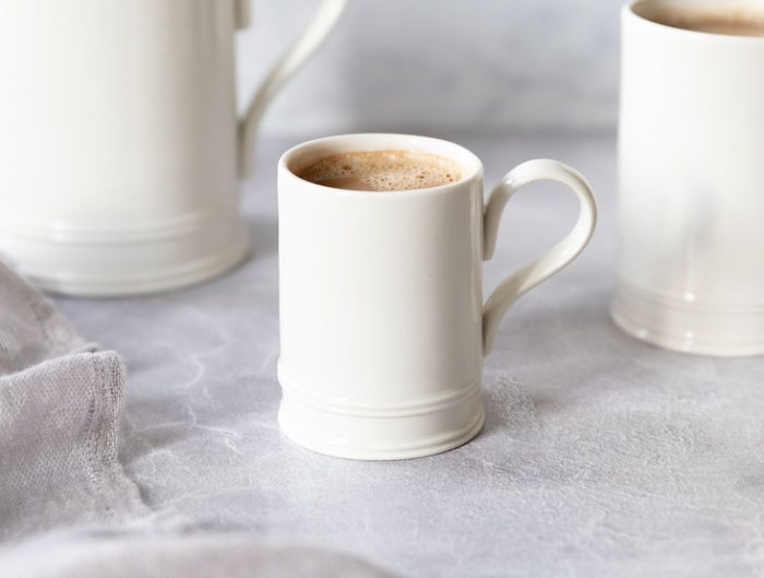 Classical Small Coffee Mug with a latte - great for breakfasts