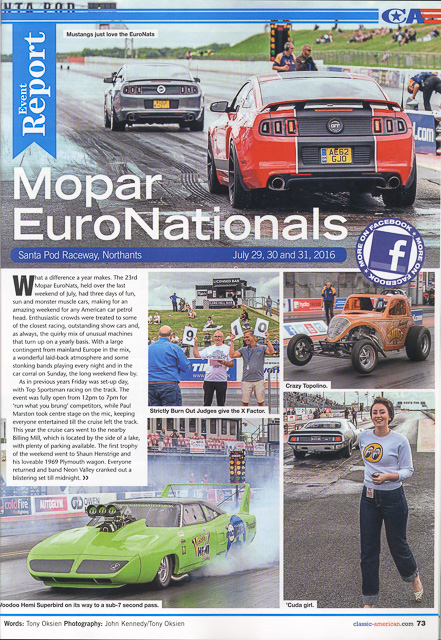 Classic American Magazine - number 306 October 2016 Cover - Editorial piece Mopar Euro Nationals - page 1