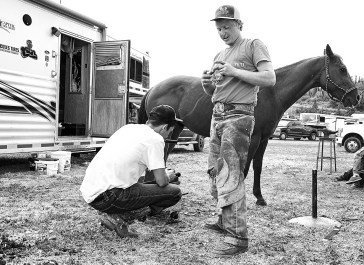 rodeo people farrier and friend