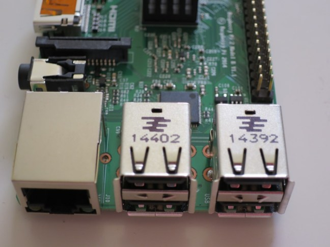 Raspberry pi 2 USB ports closeup