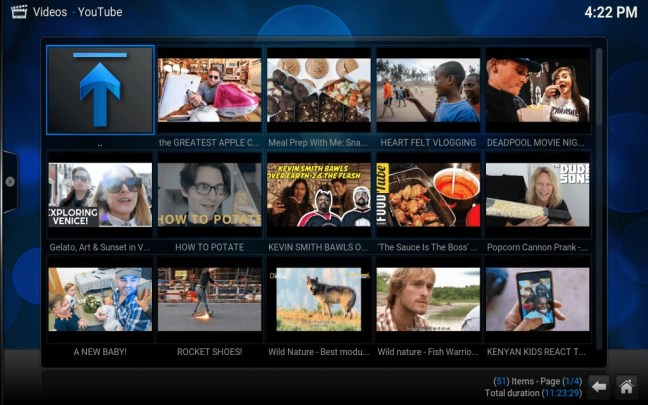 And Finally the working My Subscriptions page with working thumbnails in kodi