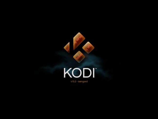 Kodi 15.2 Isengard splash screen on iOS 5.1.1