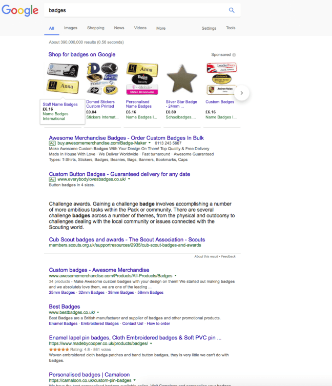 Google without adblock - above the fold