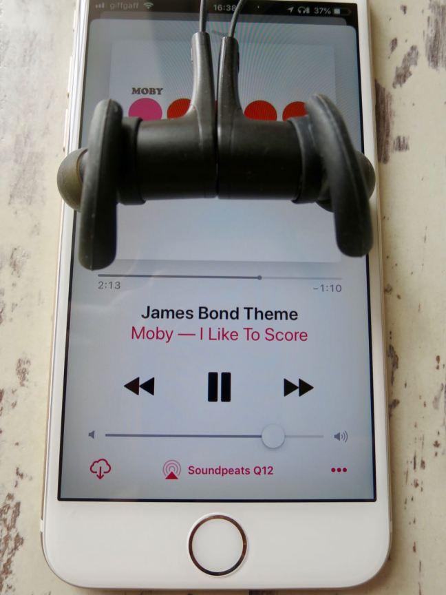 Soundpeats Q12 Headphones and iPhone