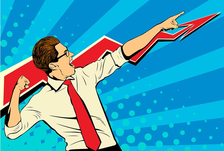 Pop art image of businessman pointing his arm upward in triumph because he found the perfect freelance writer for his addiction recovery SEO blog
