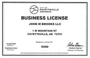 John M Brooks, New Business License