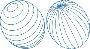Latitude and longitude lines on tilted ovals
