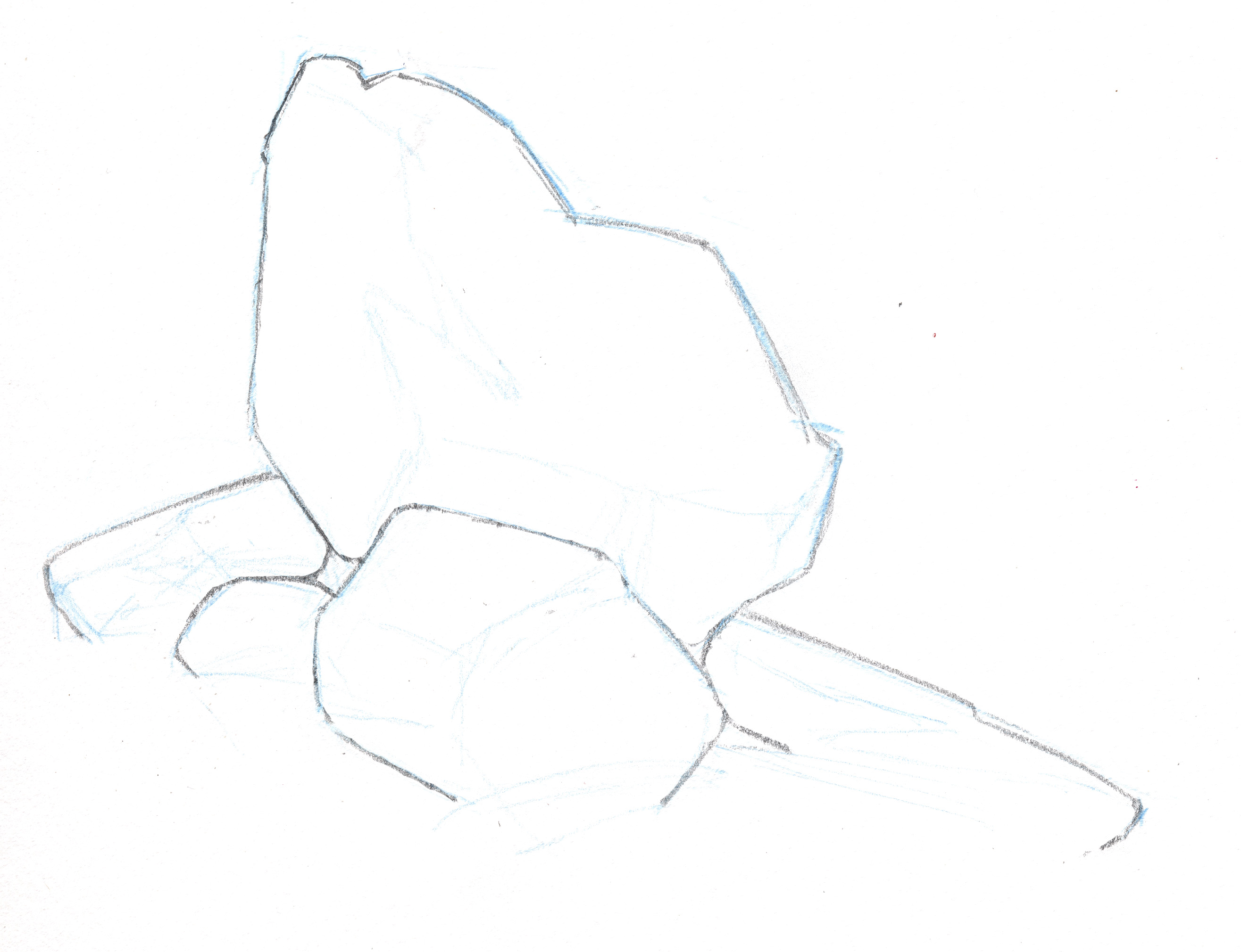 Draw the outlines of your rocks i started with a pale non photo blue pencil to block in the basic shapes if you look closely you can see it in the