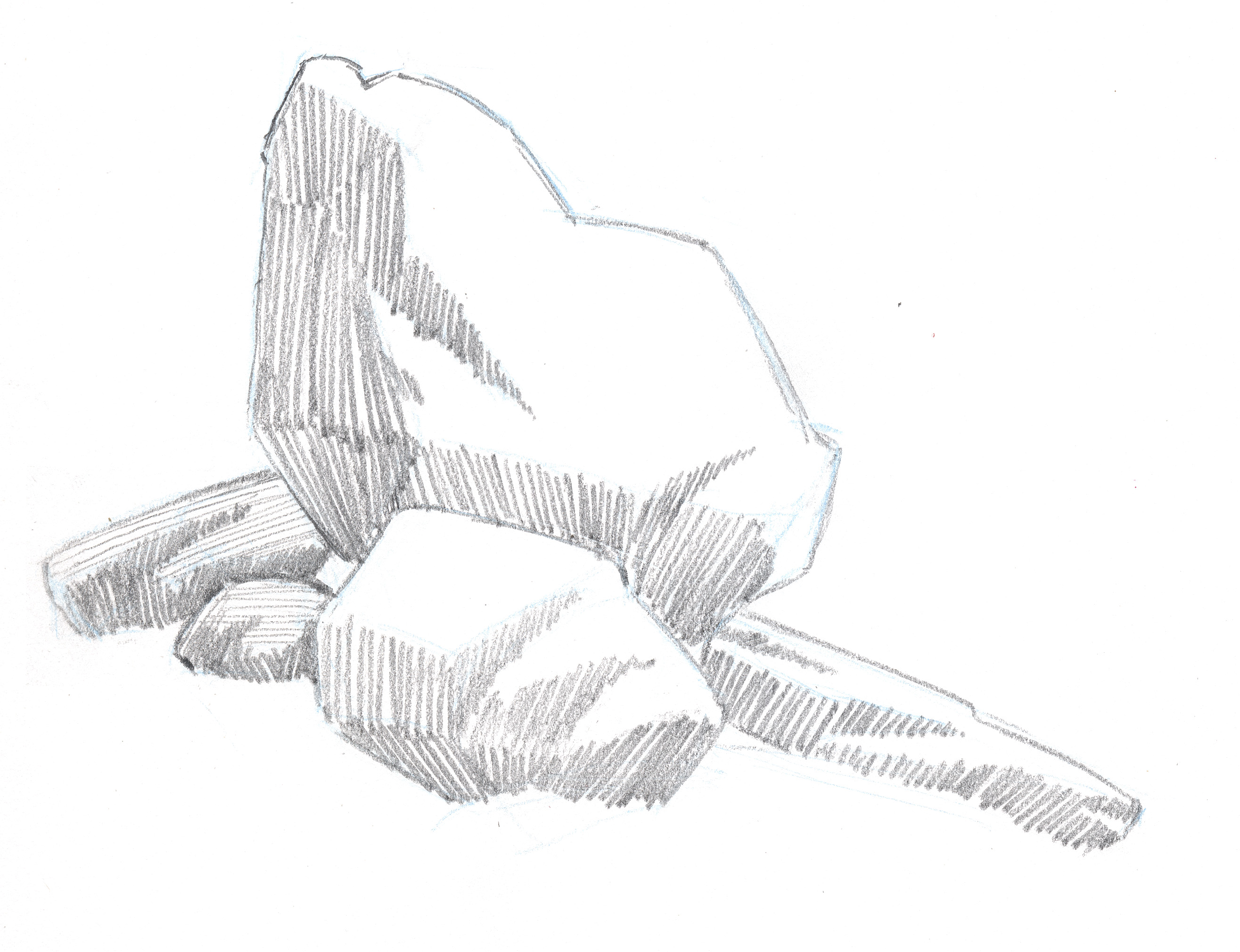 Draw textures for smooth and rough rocks in your landscape pencil drawings.