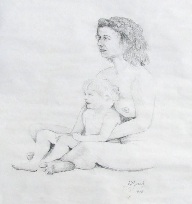1994. Life drawing - Debbie and child