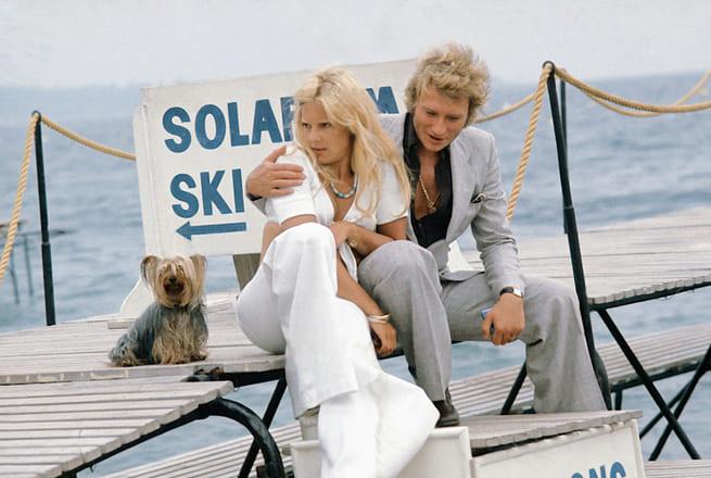 Johnny Hallyday et Sylvie Vartan à Cannes 6 juin 1974