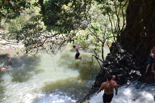 People jumping off Twin Falls