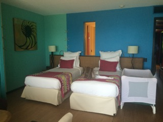 Beds in a family suite in the Aguamarina section of the resort